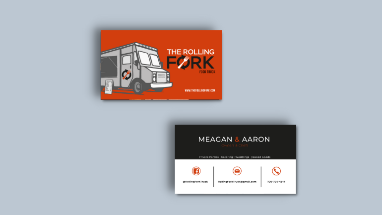 Food truck custom business cards
